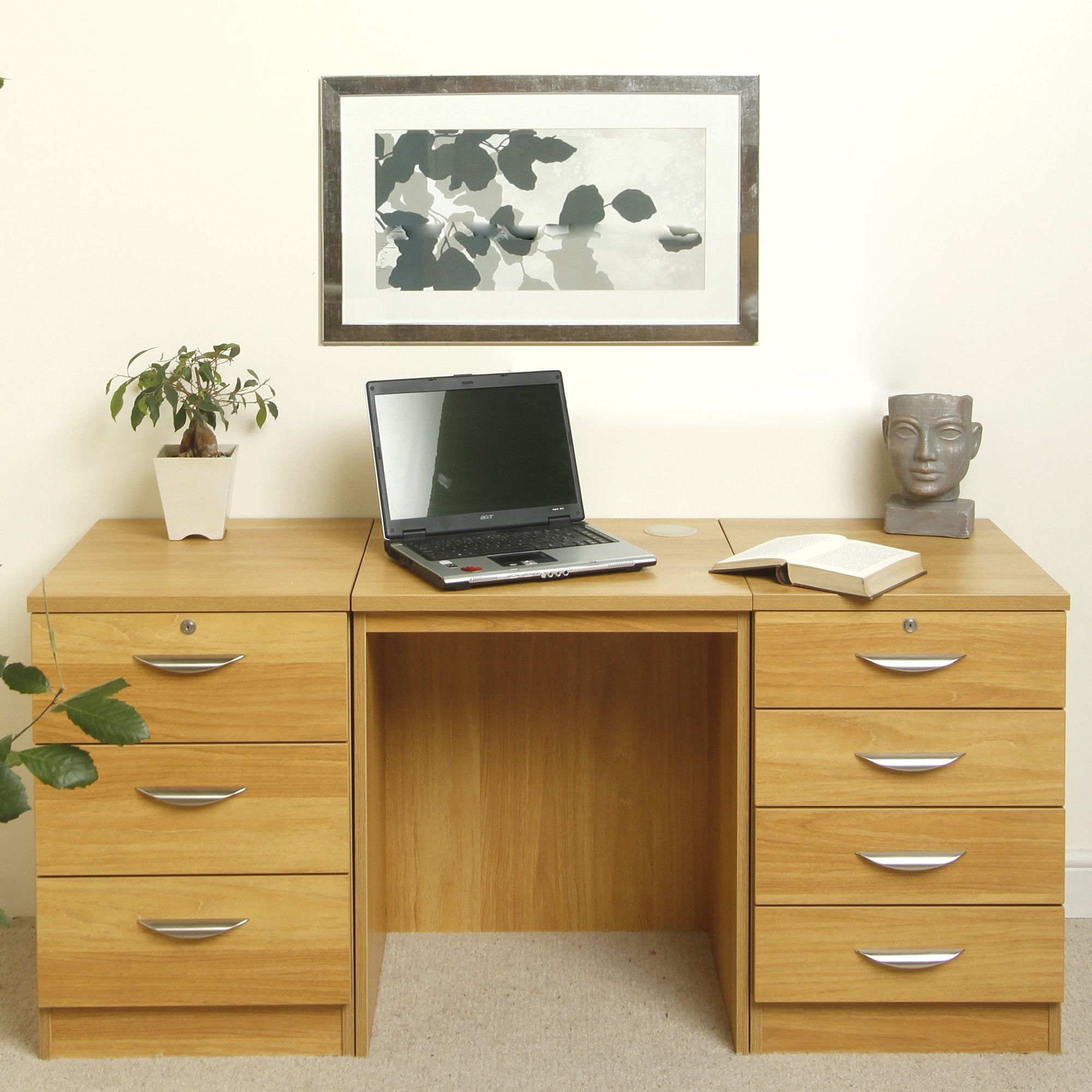 Enduro Home Office Desk / Workstation with Two Pedestal Units - Walnut at Tescos Direct