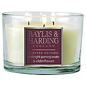 Baylis & Harding Multi-Wick Candle, Midnight Pomegranate & Elderflower