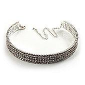 4-Row Swarovski Crystal Choker Necklace (Silver&Clear)