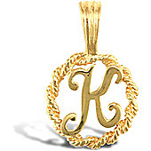 Jewelco London 9ct Gold Rope Initial ID Personal Pendant, Letter K - 0.9g