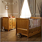 Obaby Lincoln 2 Piece + Sprung Mattress Cot Bed And Changing Unit - Country Pine