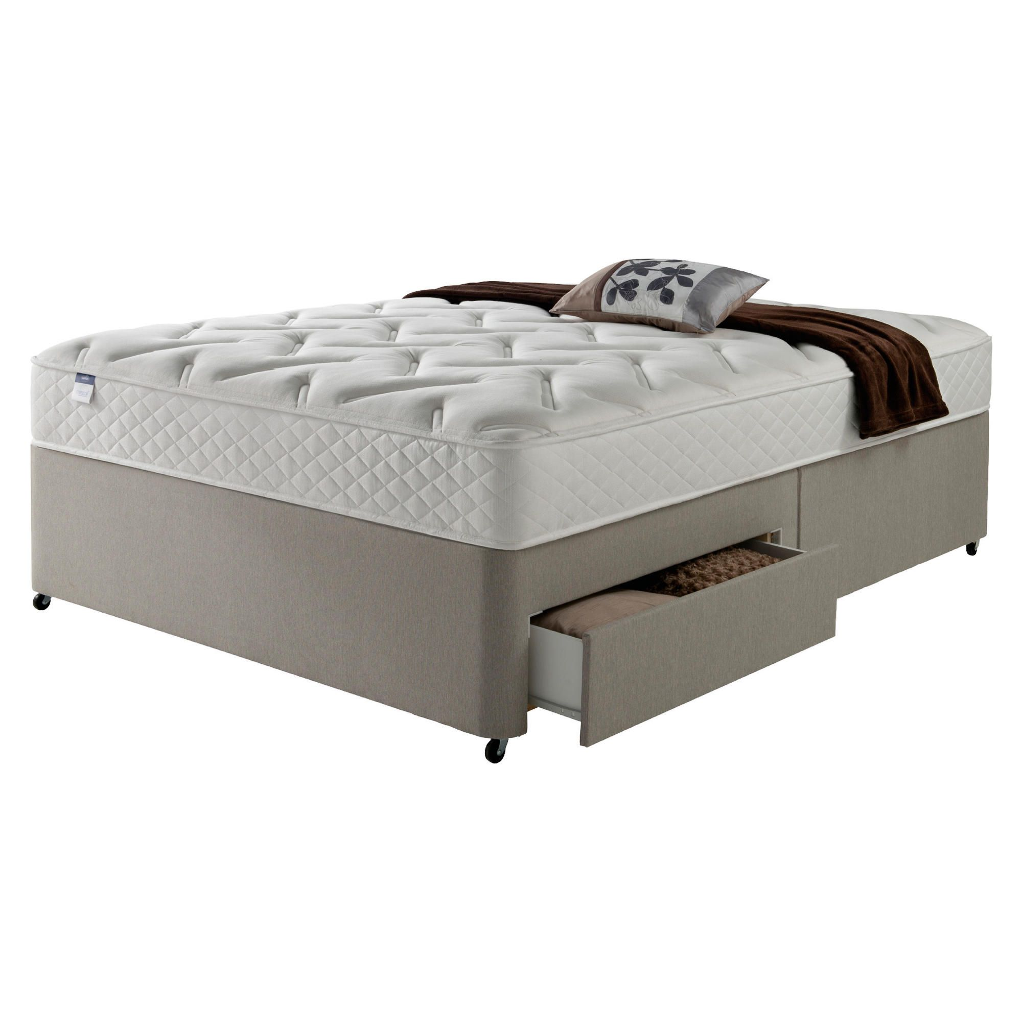 Silentnight Miracoil Luxury Memory 2 Drawer Super King Divan Mink no Headboard at Tesco Direct