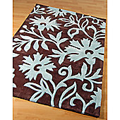 Origin Red Bouquet Chocolate / Blue Rug - 150cm x 80cm (4 ft 11 in x 2 ft 7.5 in)