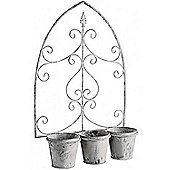 Loire - Metal Triple Garden Wall Flower Planter - White / Grey