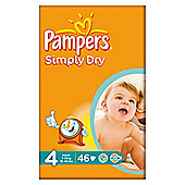 Pampers Simply Dry Size 4 Large Pack - 46 nappies