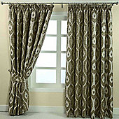"""Homescapes Green Jacquard Curtain Abstract Ikat Design Fully Lined - 90"""" X 54"""" Drop"""