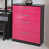 Welcome Furniture Knightsbridge 4 Drawer Deep Chest - Black - Aubergine