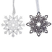 Grey & White Jewelled Felt Snowflake Hanging Christmas Tree Decorations
