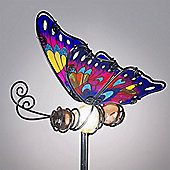 Garden Glows Solar Powered Purple Glass Butterfly Garden Stake