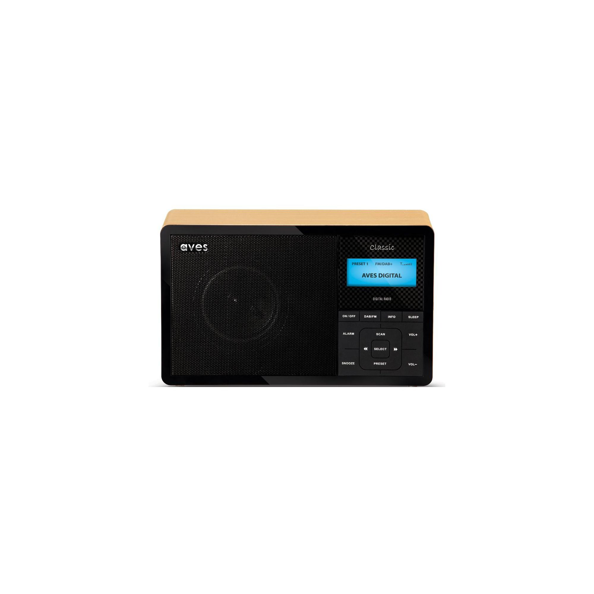 CLASSIC DAB+/FM Digital Radio with Wood Effect Finish and 20 Presets.