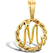 Jewelco London 9ct Gold Rope Initial ID Personal Pendant, Letter M - 0.9g