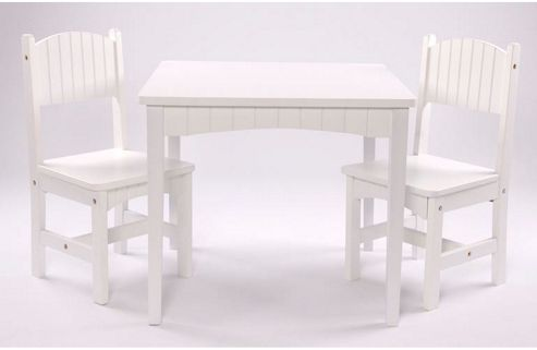 First Baby Safety Dion Table and Chair Set in White Wood