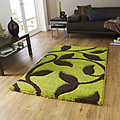 Oriental Carpets & Rugs Fashion Carving 7647 Green/Brown Rug - 80cm x 150cm