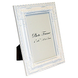 White Decorative Photo Frame 4 x 6""