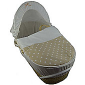 Cuddles Collection Moses Basket (Beige Polka Dot)