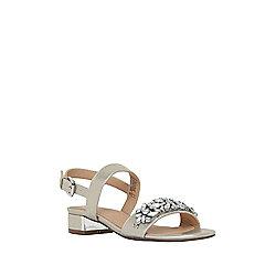 F&F Jewel Embellished Two Part Mid Heel Sandals Adult 06 Gold