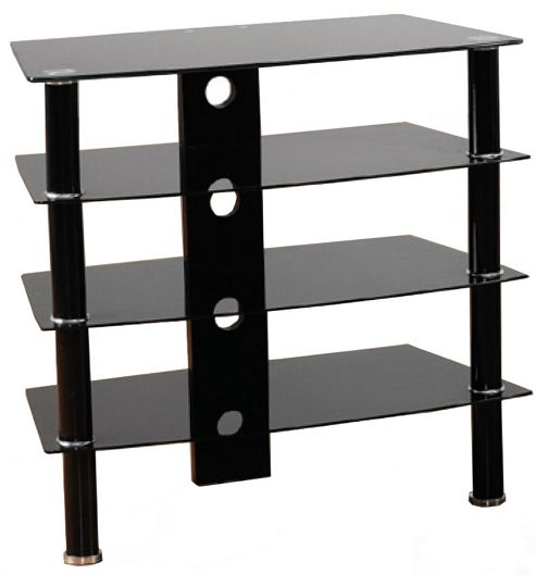 Black Glass 4 shelf Hi-Fi Stand with black legs