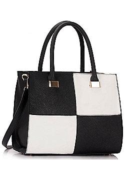 KCMODE Ladies Black / White Fashion Tote Handbag