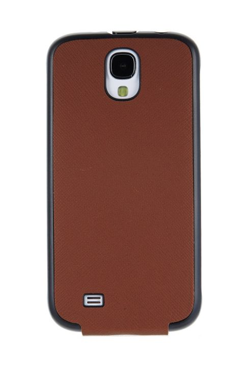 Samsung Elite Saffiano Pattern Passport Leather Vertical Flip Case for Galaxy S4 - Brown