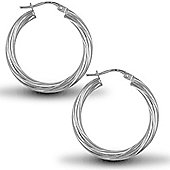 Jewelco London Sterling Silver Twist Hoop Earrings - 3mm