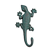 Wall Mountable Verdigris Cast Iron Lizard Accessory Hook Garden Ornament