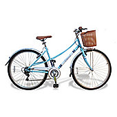 Universal Chic 700c Ladies Hybrid Bike with Basket, Pastel Blue
