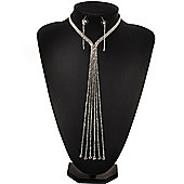 Stunning Party Long Tassel Crystal Necklace & Drop Earrings Set In Silver Plating - 20cm Front Drop