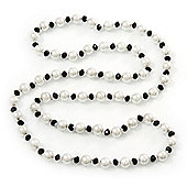 Long Black/ White Glass Pearl Necklace - 114cm Length