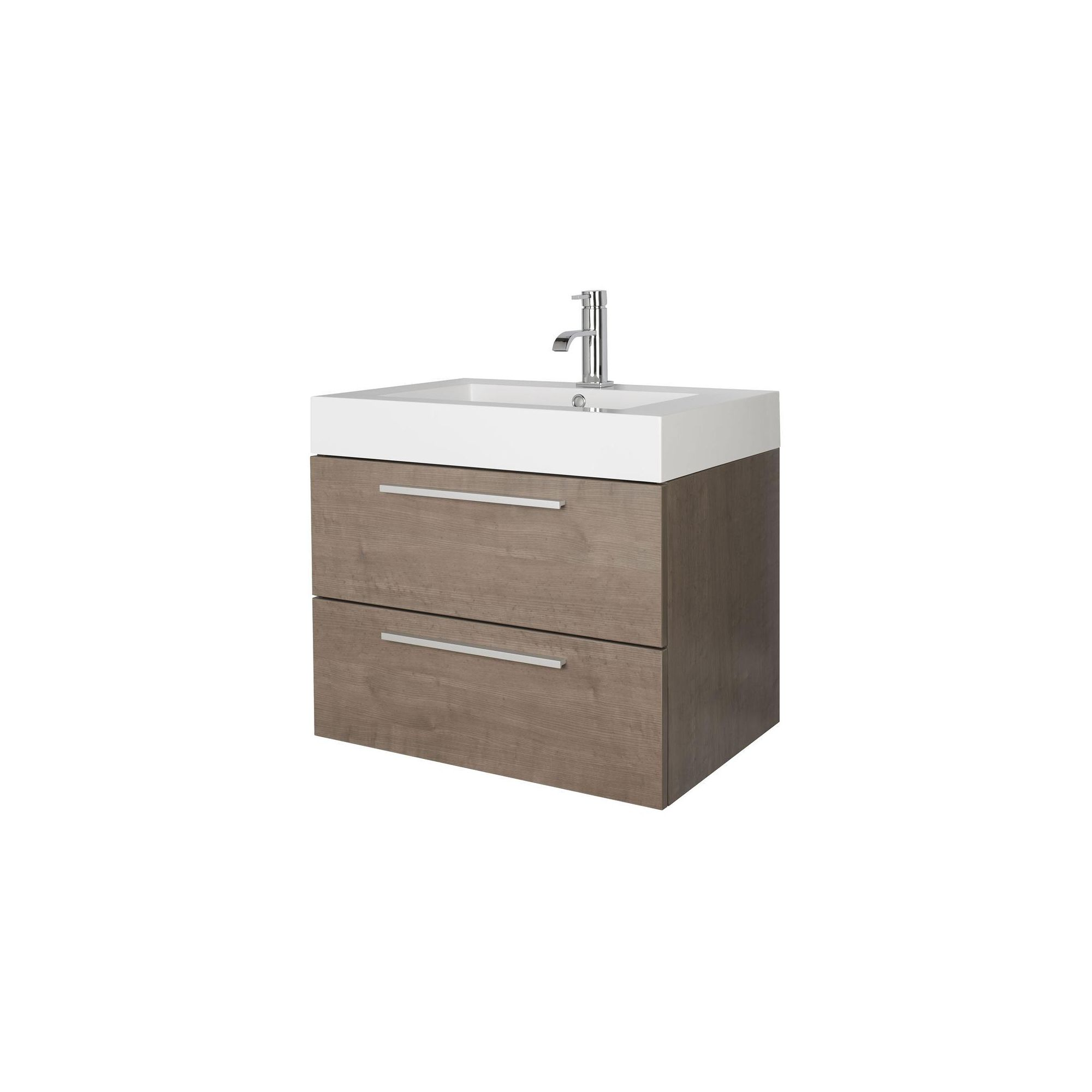 Premier Relax Wall Mounted Basin and Cabinet Oak Finish