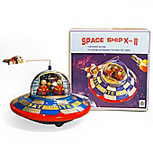 Spaceship - Retro Tin Clockwork Collectable
