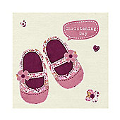 Sweet Girl's Christening Card with Pink Floral Shoes Design.