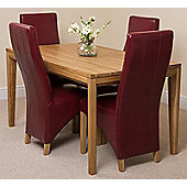 Bevel Solid Oak 150 cm Dining Table with 4 Burgundy Lola Leather Chairs