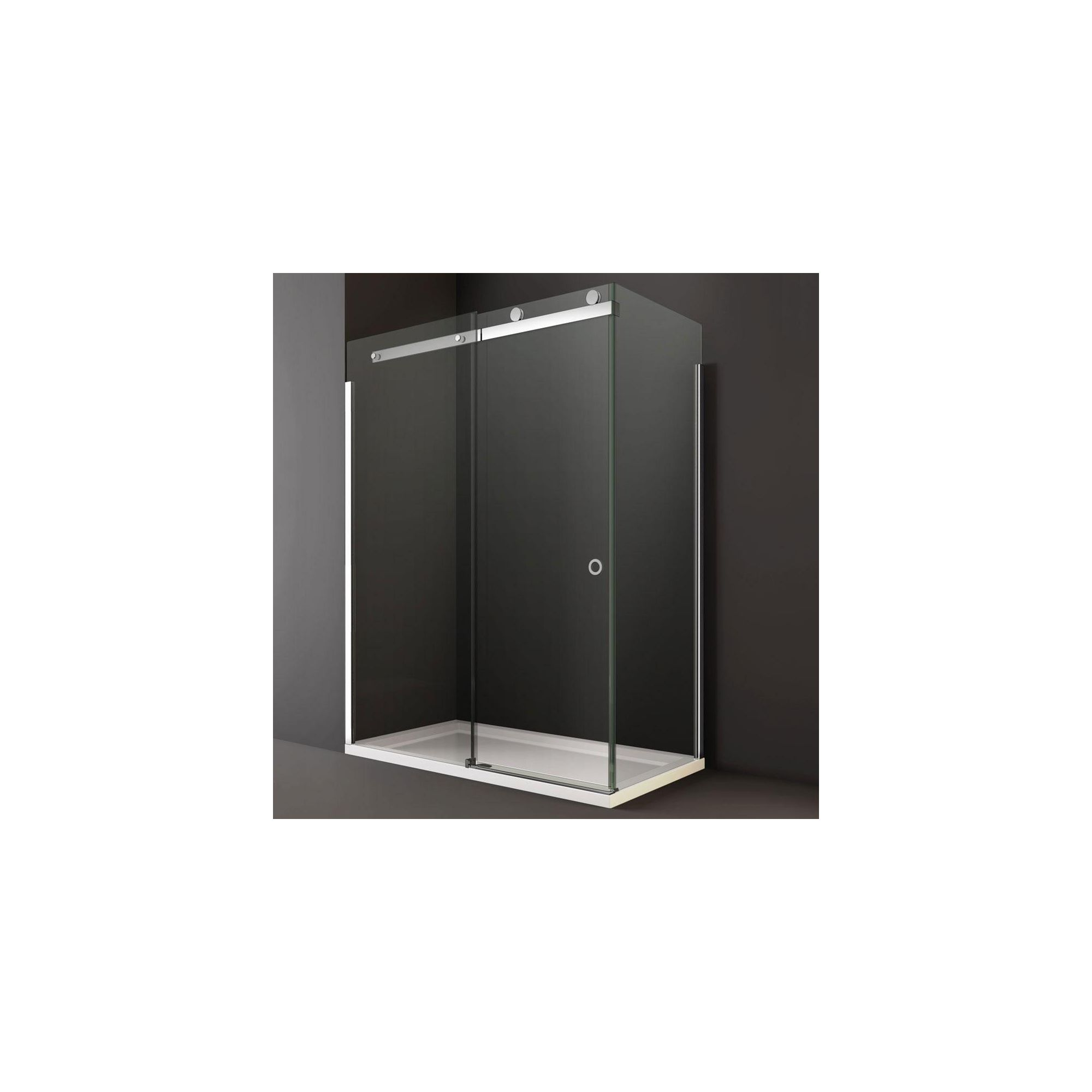 Merlyn Series 10 Sliding Shower Door, 1400mm Wide, 10mm Smoked Glass, Left Handed at Tesco Direct