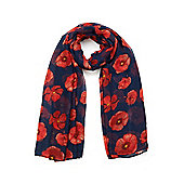 Red Poppy Print Long Scarf