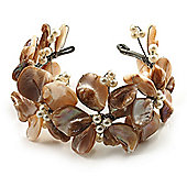 Antique White Floral Shell & Pearl Cuff Bracelet (Silver Tone)
