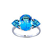 QP Jewellers 4.20ct Blue Topaz Vogue Ring in 14K White Gold