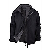 Fell 3 in 1 Mens Showerproof Walking Hiking Coat Jacket + Fleece - Black