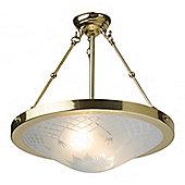 Kansa Lighting Pinestar Two Light Pendant in Polished Brass
