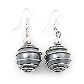 Silver Tone Grey Faux Pearl Drop Earrings - 4cm Drop