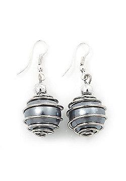 Silver Tone Grey Faux Pearl Drop Earrings - 4cm Drop