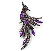 Sparkling Purple Crystal Fire-Bird Brooch (Gun Metal)