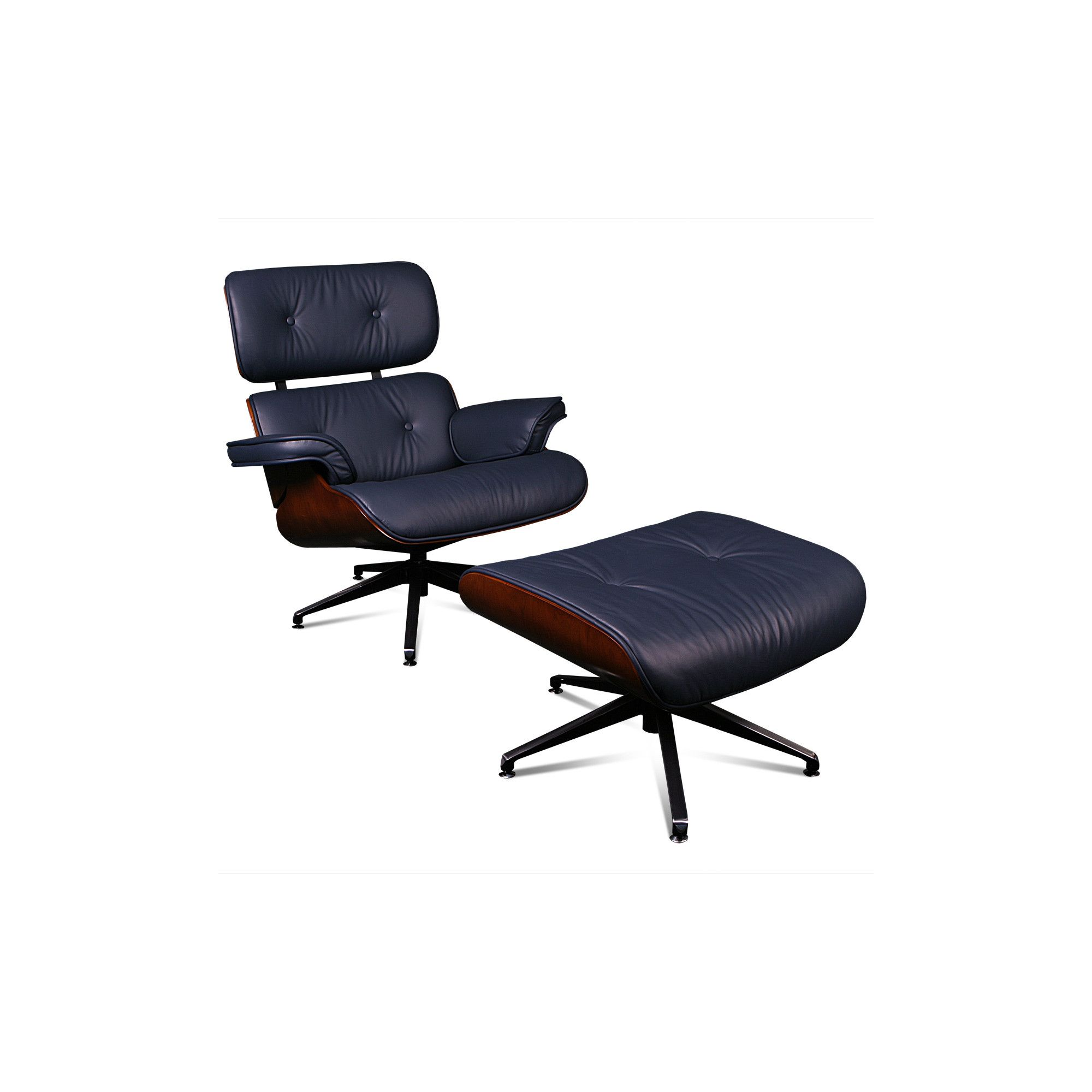 ProMech Racing Classic Leather Lounge Chair and Ottoman - Blue