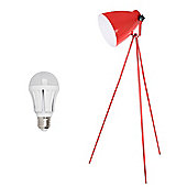 Genoa LED Tripod Floor Lamp in Gloss Red
