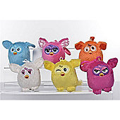 Furby 7cm Keychain - Plush, Bundle - One Each - Pink, Blue, White, Orange, Yellow, Purple
