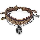 Urban Male Multi Strand Leather & Cord Charm Design Bracelet