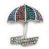 Rhodium Plated Multicoloured Umbrella Brooch