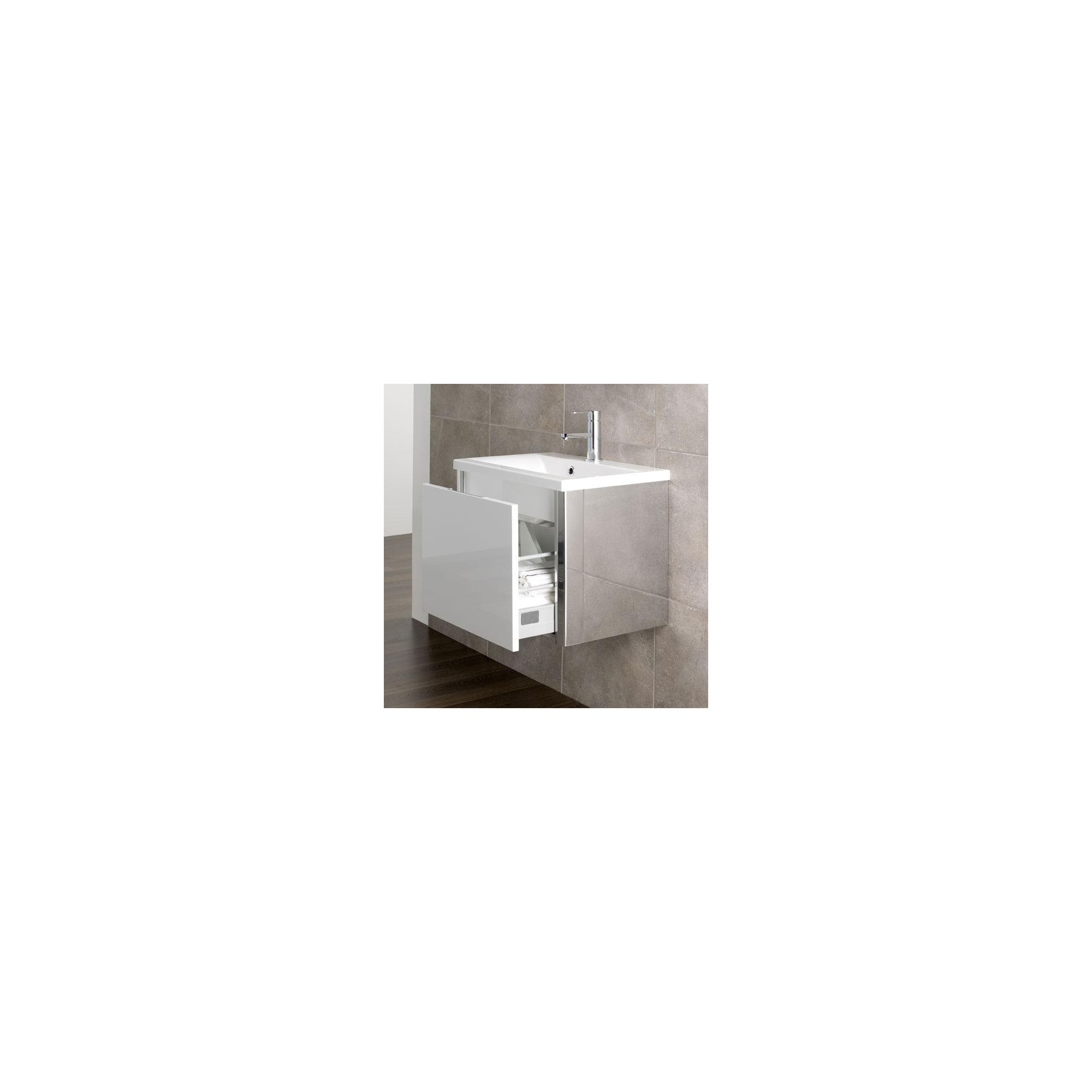 Duchy Trehane White Wall Hung 1 Drawer Vanity Unit and Basin - 580mm Wide x 390mm Deep