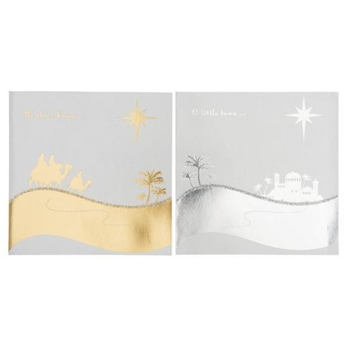 Tesco Silver & Gold Religious Scenes Christmas Cards, 12 Pack