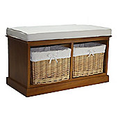 Wicker Valley 2 Willow Baskets Bench - Honey