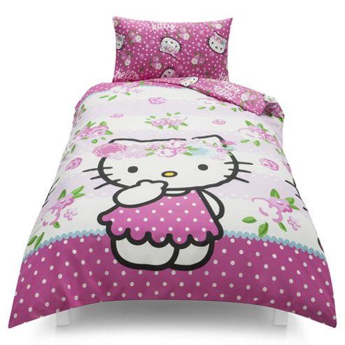 Hello Kitty Floral Duvet Set, Single TESCO EXCLUSIVE